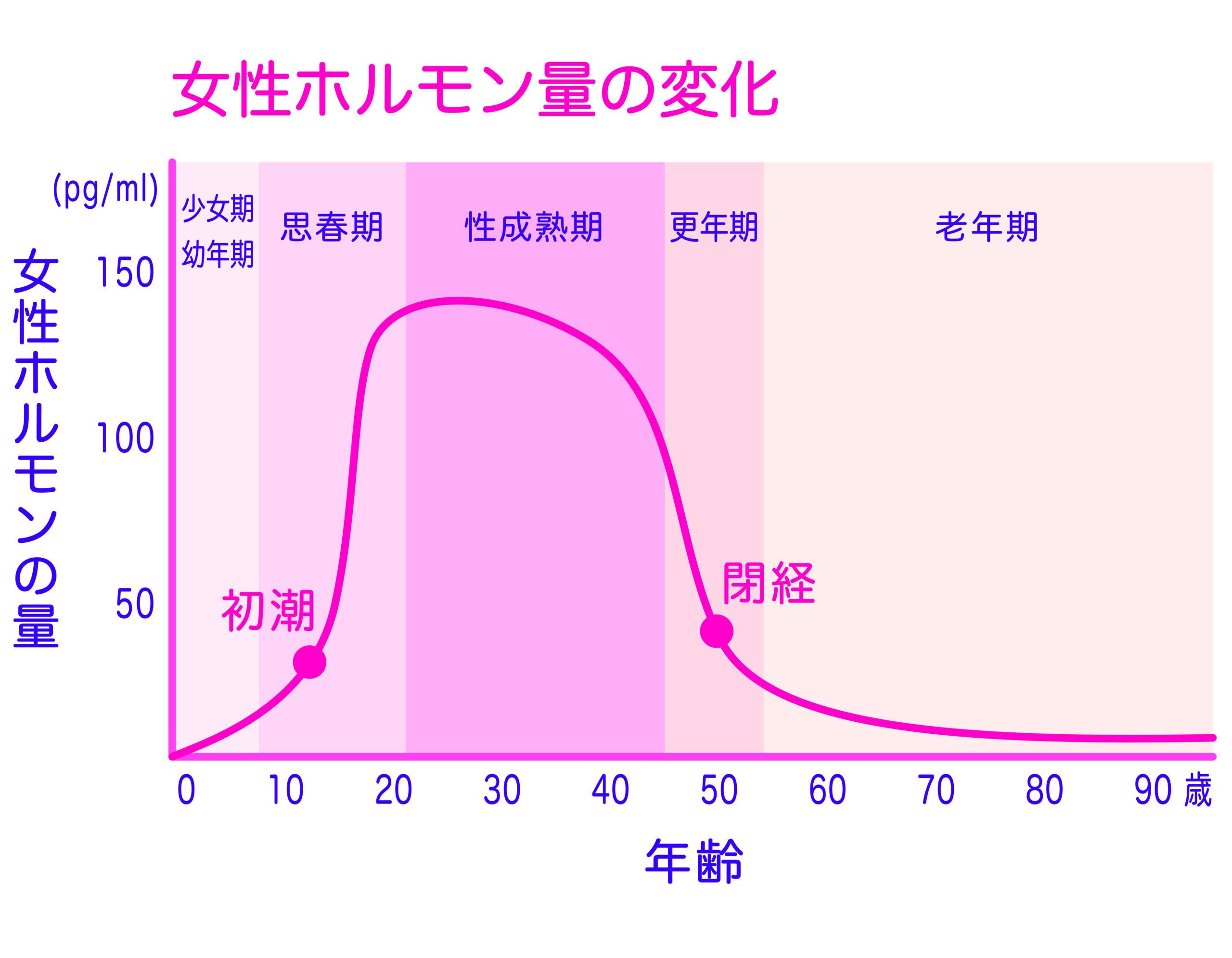女性の生涯の女性ホルモン(エストロゲン)の量の変化